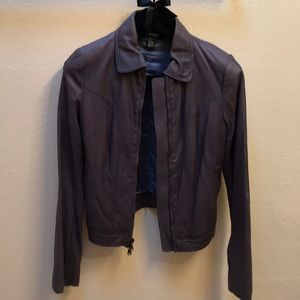 DONNA KAREN NEW YORK LEATHER JACKET PETITE